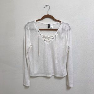 H&M LACE UP LONG SLEEVE WHITE SHIRT